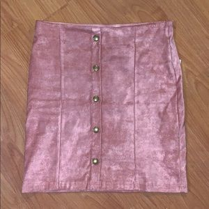 Pink Bodycon Mini Faux Suede Skirt